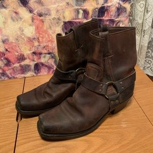 Vintage Frye White Label harness ankle boots